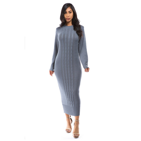 Cableknit Sweater Midi Dress