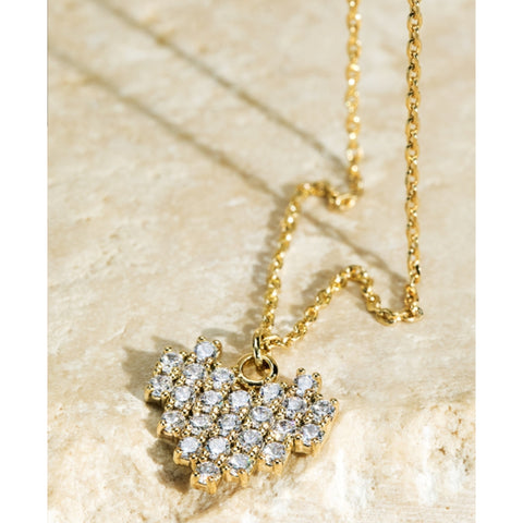 Rhinestone Mini Heart Necklace (Short)