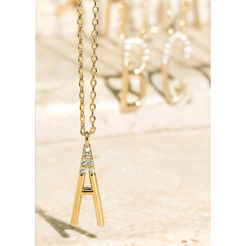 Gold ABC Rhinestone Necklace (Short)