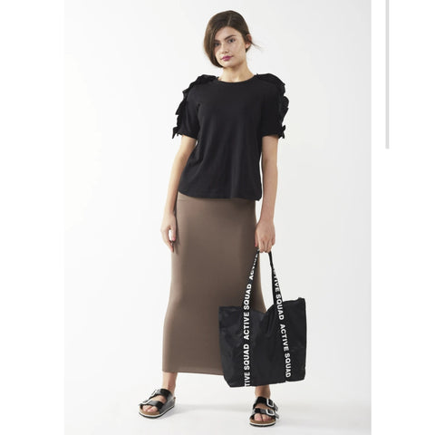 Midi Tube Skirt: Taupe