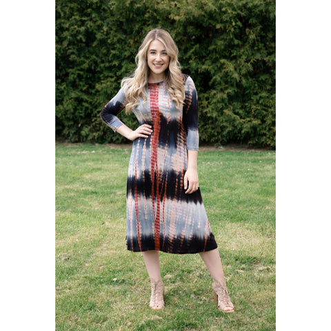 Penny Dress- Black/ Red Brick Tye Dye
