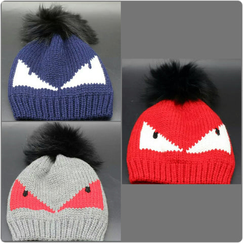 Monster Pom Kids Winter Hat - The Mimi Boutique