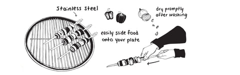 grilling tools - metal skewers product illustration