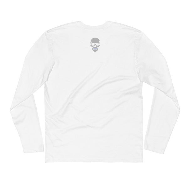 Pixel Skull Long Sleeve White Fitted Crew, SHIRTS, Bertolee Brand
