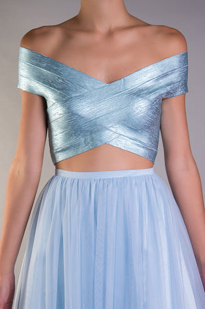 Crop top bandage met√°lico