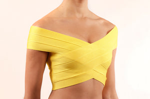 Crop top bandage cruzado AMARILLO
