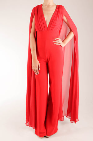 Jumpsuit maxi mangas chifón