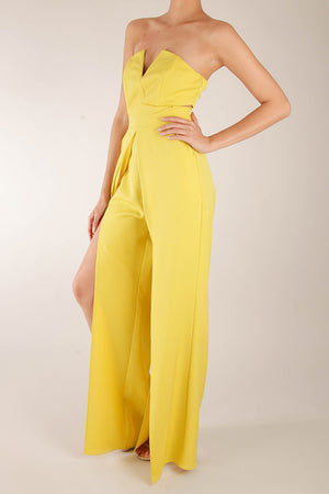 Jumpsuit strapless v cropped