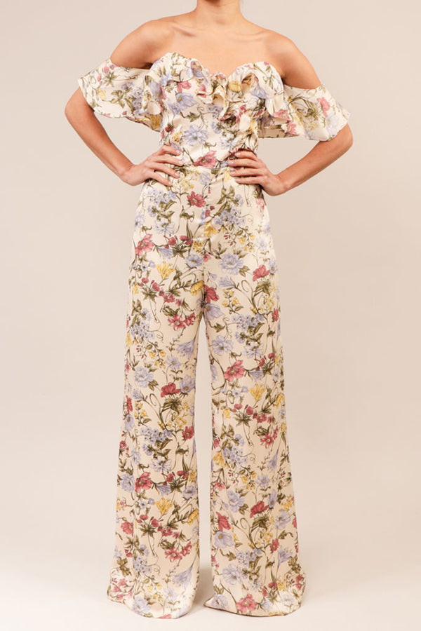 Jumpsuit off the shoulder print