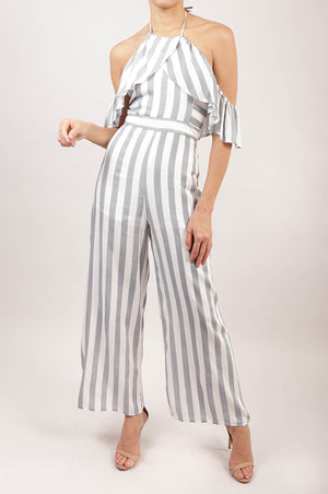 Jumpsuit off the shoulder rayas