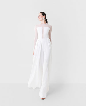 Jumpsuit transparencias blanco