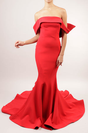 Vestido off the shoulder rojo