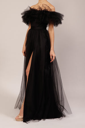 Vestido off the shoulder de mesh negro