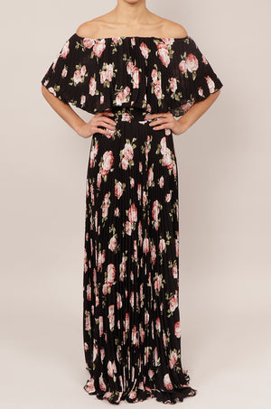 Vestido off shoulder print plisado