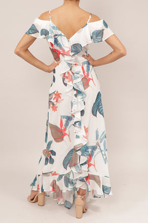 Vestido off shoulder print