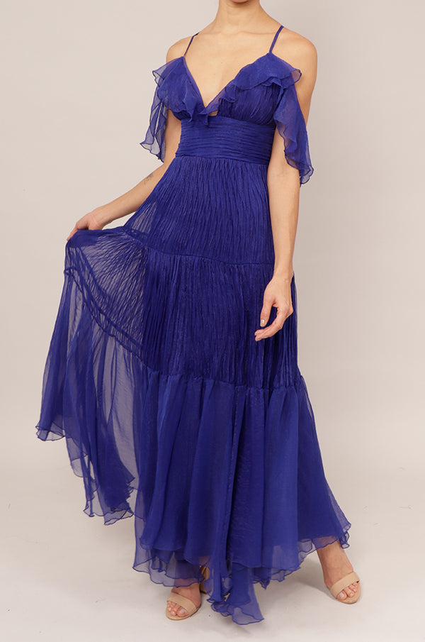 Vestido v off the shoulder royal