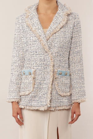Blazer de tweed ice blue
