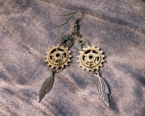 Steampunk Feather and Gears Earrings
