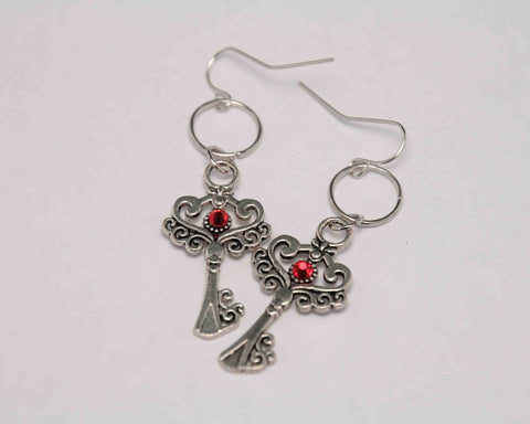 Antique Silver tone Key Earrings