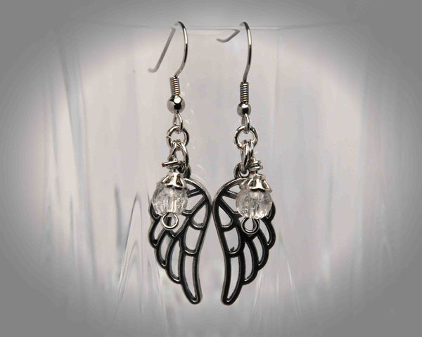 Filigree Angel Wing/Cracked Glass Earrings