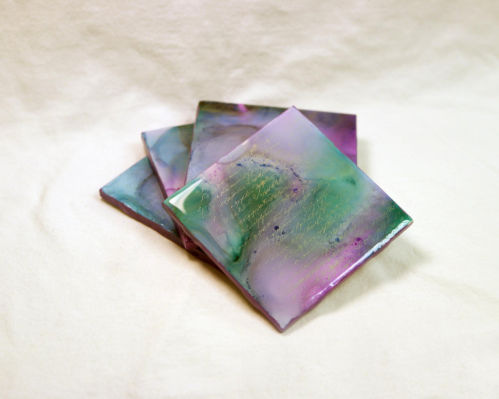 Hand Painted Alcohol Ink Coasters (Lavendar and Green)