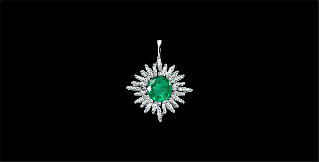 ONE OF A KIND EMERALD FIREWORKS PENDANT