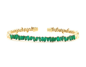 18K YELLOW GOLD FIREWORKS CLASSIC BAGUETTE EMERALD BANGLE