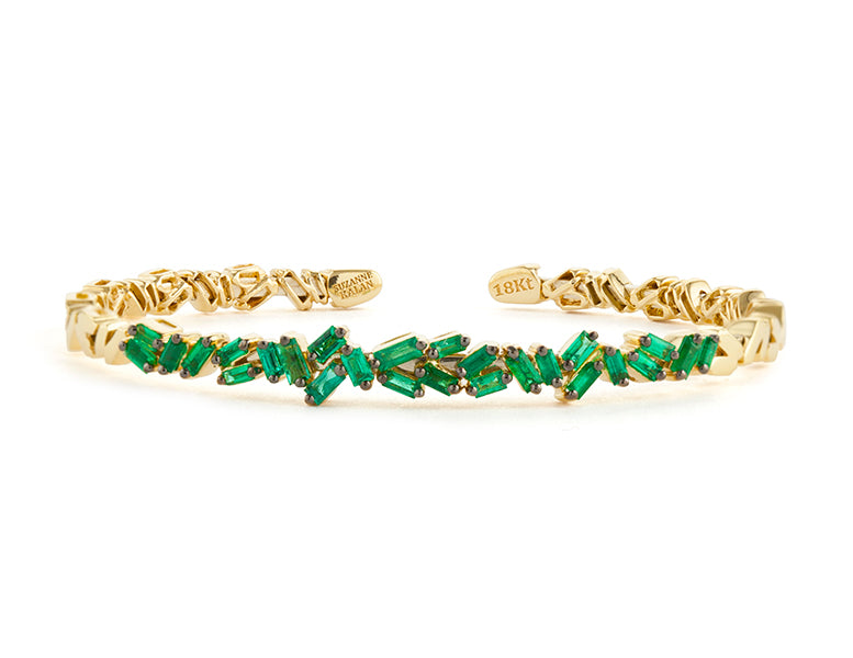FIREWORKS ZIGZAG EMERALD BAGUETTE BANGLE