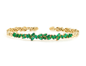 18K YELLOW GOLD FIREWORKS ZIGZAG EMERALD BAGUETTE BANGLE