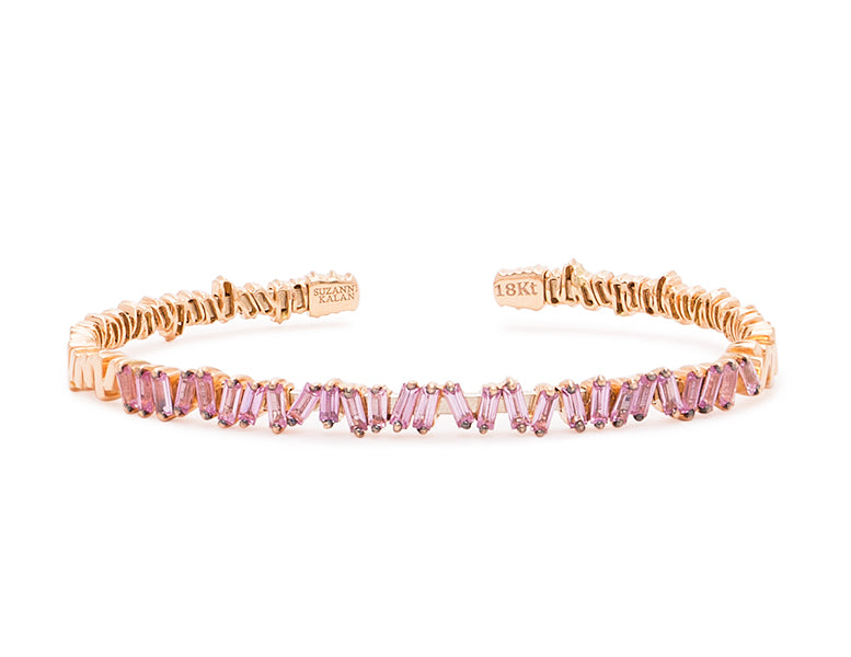 18K ROSE GOLD FIREWORKS CLASSIC BAGUETTE PINK SAPPHIRE BANGLE