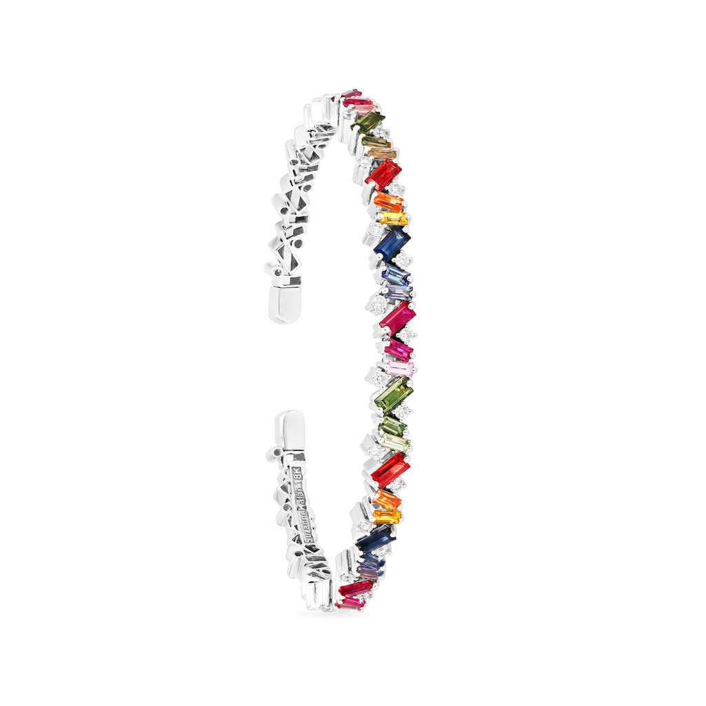 18K White Gold Rainbow Frenzy Bangle