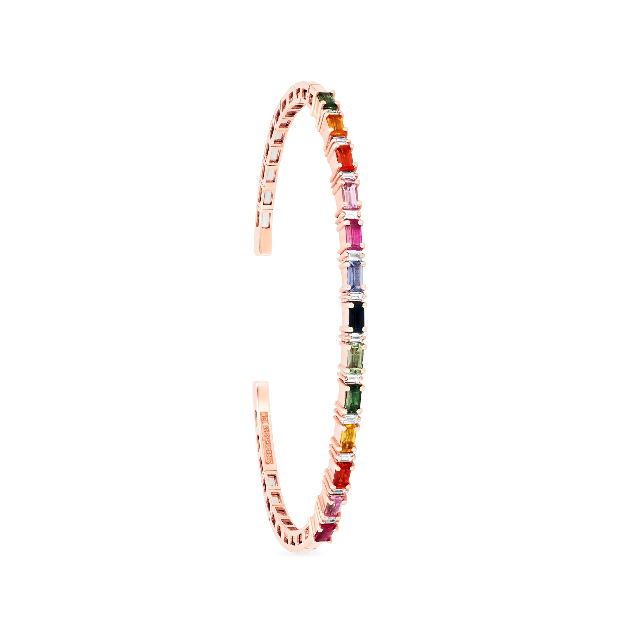 18K Rose Gold Rainbow Rectangle Bangle