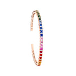 18K Rose Gold Rainbow Square Bangle