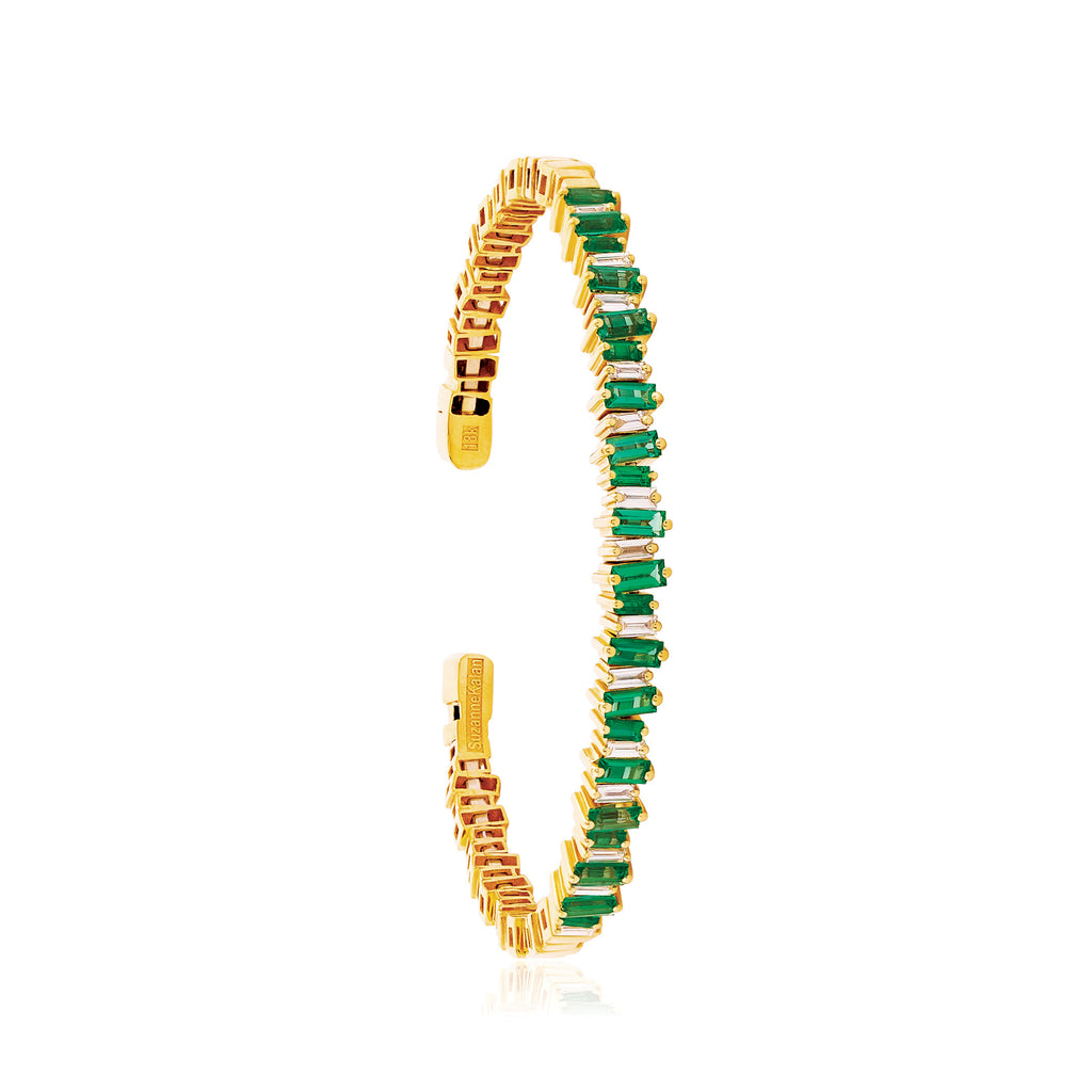 18K YELLOW GOLD FIREWORKS EMERALD & BAGUETTE BANGLE
