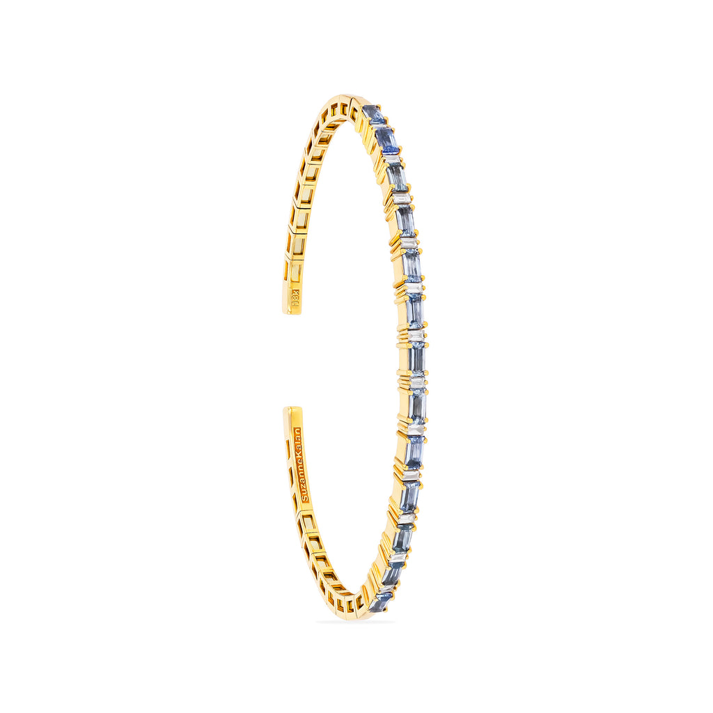 LIGHT BLUE SAPPHIRE HORIZONTAL BAGUETTE BANGLE