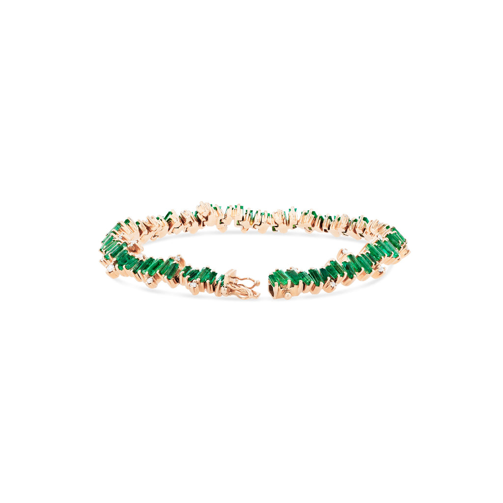 EMERALD & DIAMOND BURST TENNIS BRACELET