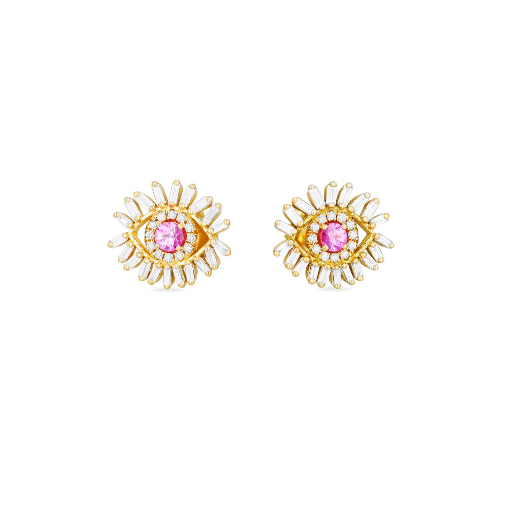 MINI PINK SAPPHIRE EVIL EYE STUD EARRINGS