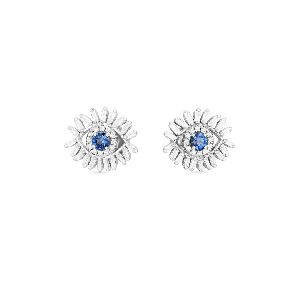 MINI DARK BLUE SAPPHIRE EVIL EYE STUD EARRINGS