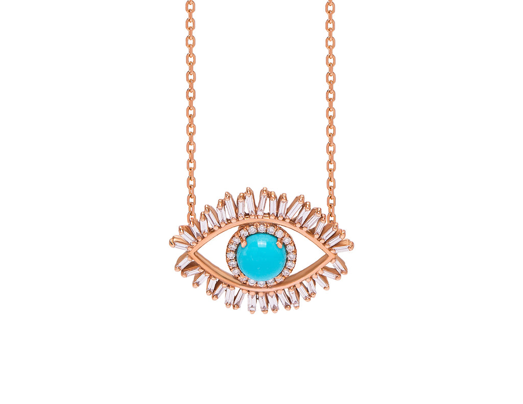 18K MEDIUM ROSE GOLD EVIL EYE FIREWORKS PENDANT