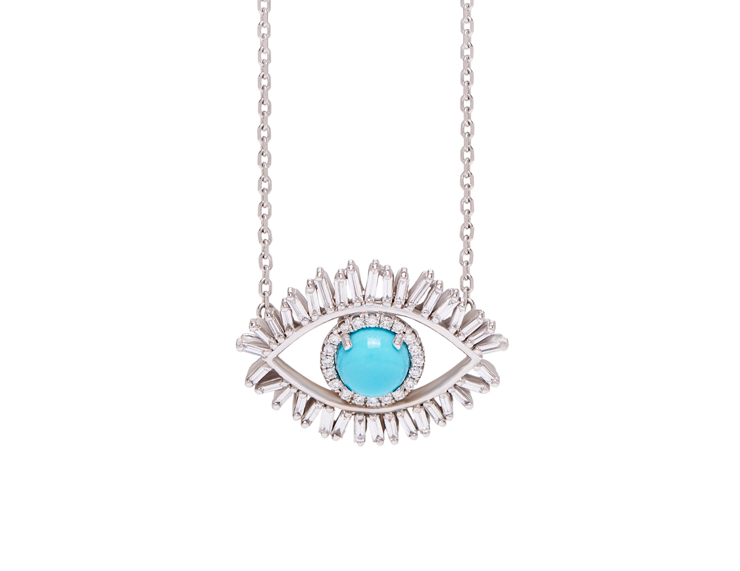 18K MEDIUM WHITE GOLD EVIL EYE FIREWORKS PENDANT