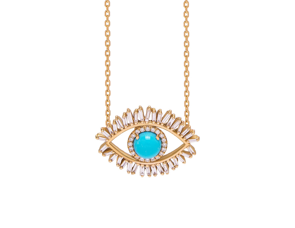 18K MEDIUM YELLOW GOLD EVIL EYE FIREWORKS PENDANT