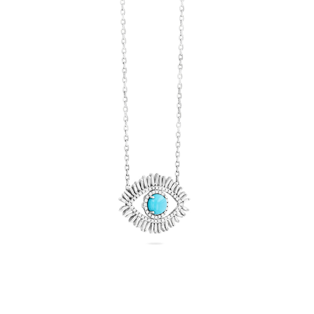 LARGE TURQUOISE EVIL EYE PENDANT WITH PAVE