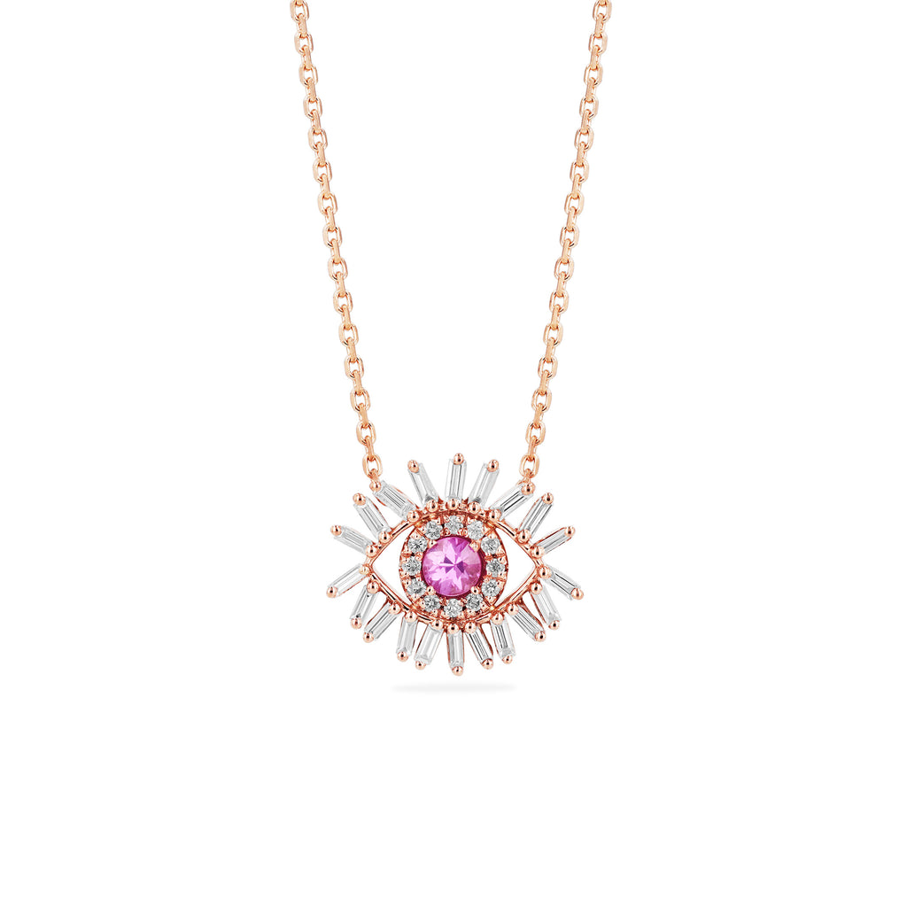 MINI PINK SAPPHIRE EVIL EYE NECKLACE