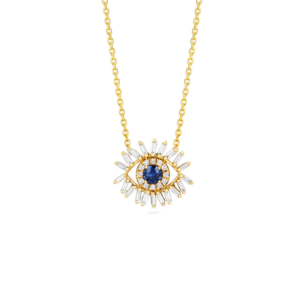 MINI DARK BLUE SAPPHIRE EVIL EYE NECKLACE