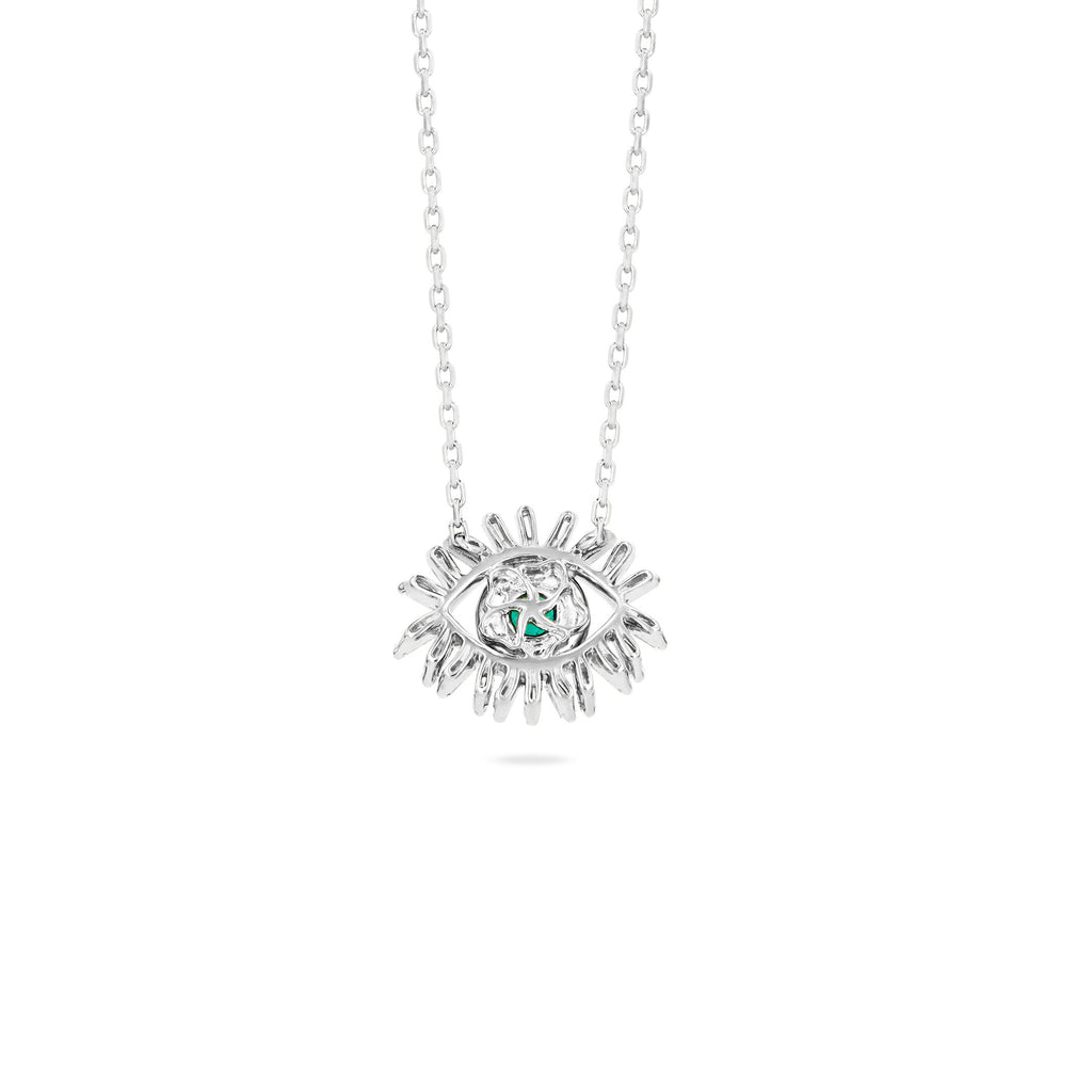 MINI EMERALD EVIL EYE NECKLACE