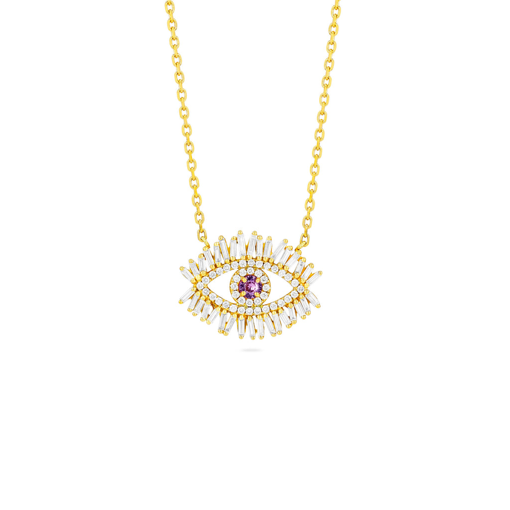 MEDIUM PINK SAPPHIRE EVIL EYE PENDANT WITH PAVE