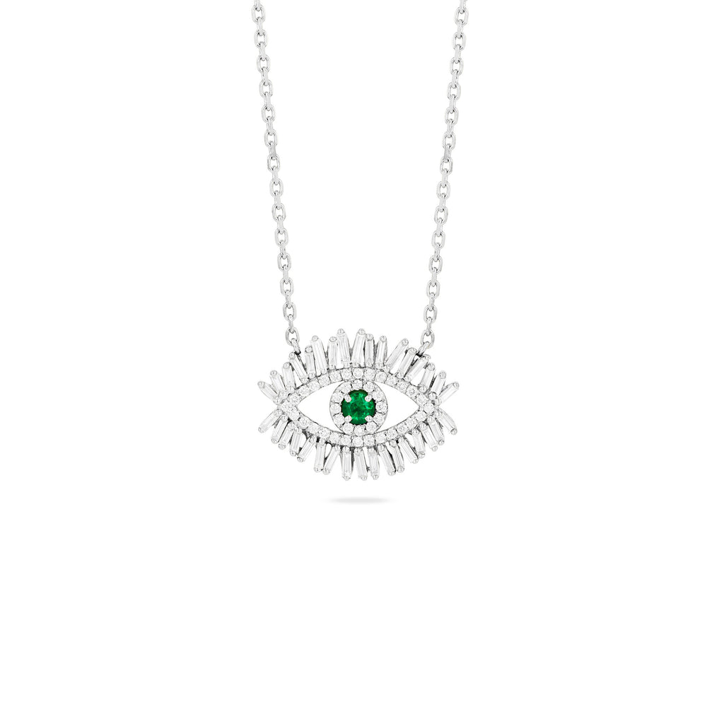 MEDIUM EMERALD EVIL EYE PENDANT WITH PAVE