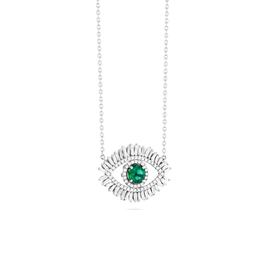 LARGE EMERALD EVIL EYE PENDANT WITH PAVE