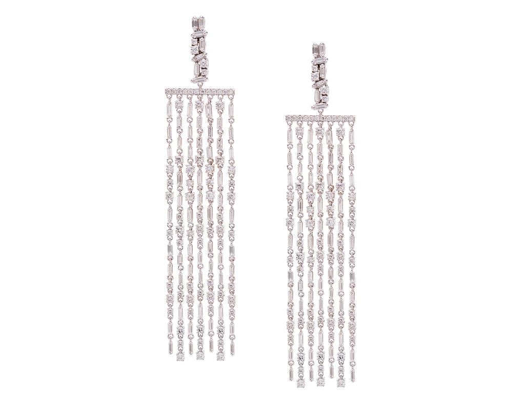18K WHITE GOLD CASCADE FIREWORKS LONG CHANDELIER EARRINGS