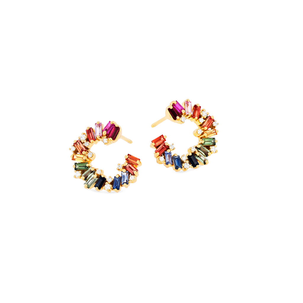 ARIELLA RAINBOW SAPPHIRE HOOP EARRINGS